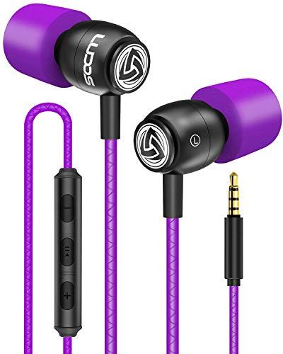 LUDOS Clamor Kopfhörer In Ear - Wired Ohrhörer mit Mikrofon und Bass, Premium-Audioqualität, Neuartiger Memory Foam, Verstärktes Kabel, Headphones mit Lautstärkeregler für iPhone, Apple, iPad