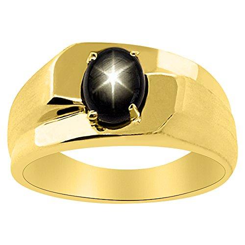 Solitario Negro Star Sapphire anillo 14K amarillo o 14K oro blanco