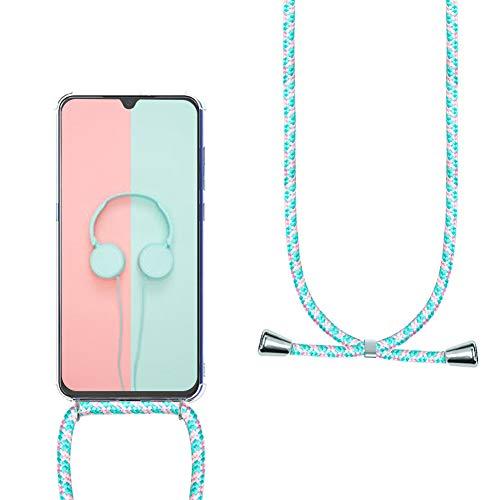 YuhooTech Funda con Cuerda para Huawei P9 Lite, [Moda y Practico][ Anti-Choque][Anti-rasguños] Suave Silicona Transparente TPU Carcasa de movil con Colgante/Cadena,Polvo Verde