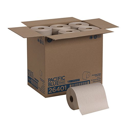 Pacific Blue Basic Recycled Paper Towel Roll (Previously Branded Envision) by GP PRO (Georgia-Pacific), Brown, 26401, 350 Feet Per Roll, 12 Rolls Per Case