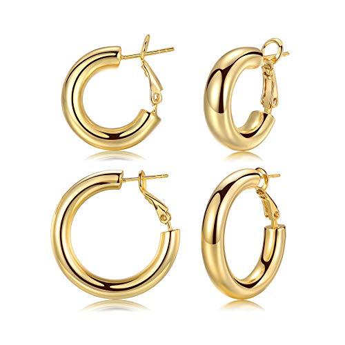 ADVIOK Gold Hoop Earrings for Women Girls Men, 2 Pairs Large Earrings 925 Sterling Silver Post 9ct Gold Plated Hoops Earring Set, Thick Hoop Earrings Gift 20mm 30mm