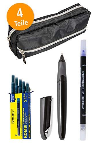 Online Schreibset | Schlamper-Etui inklusive Tintenroller, Tintenpatronen und Tintenlöscher | Rollerball Pen mit ergonomischem Griffstück und austauschbarer Tintenpatrone | für Rechts- und Linkshänder
