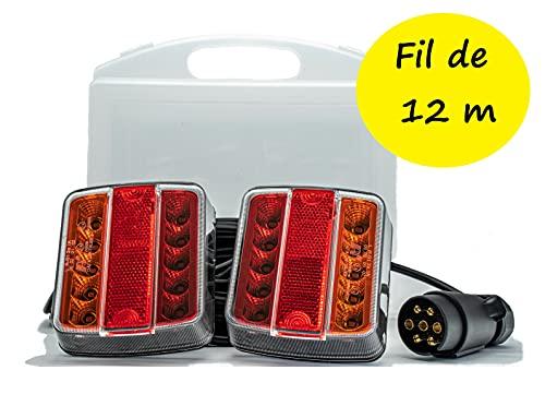 Rebadis Kit éclairage Feux arrières LED avec Fixation magnétique pour remorque et Caravane, Cable de 12 mètres, valisette de Rangement