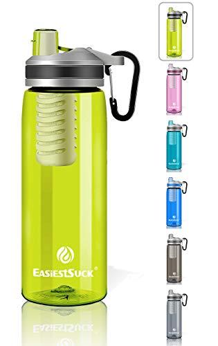 Easiestsuck Filter Water Bottle 26 oz,Medical Grade Filtered Integrated Outdoor Water Bottle,Leak Proof One Click Flip Top, Hiking,Camping,Travel,Backpacking - BPA Free