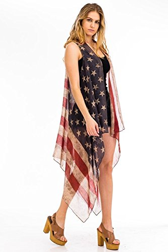 Patriotic American Flag Distressed Kimono Cardigan Sleeveless Vest or Scarf Vintage Boho 4th of July or Beach Kimono Flowing Summer Vest
