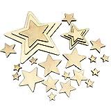 Sweieoni Estrellas de Madera 275 Piezas Madera con Forma de Estrella Mini Estrellas de Madera Adornos Manualidades Adornos para Decoración de Fiesta de Navidad Boda DIY Decoración, 5 Tamaños