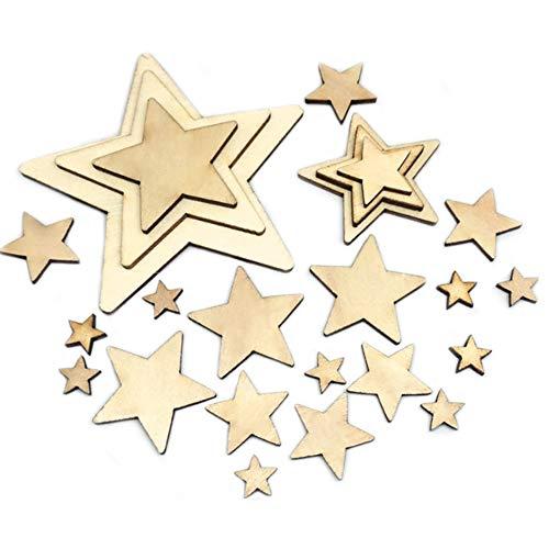 Sweieoni Sterne Basteln 275 Stück Holzsterne Blank Holz Stern Scheiben Mini Stern Holz Sterne Scheiben Holz Sterne Verschönerungen für DIY Basteln Weihnachten Hochzeit Party, 5 Größen