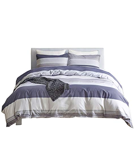 BRLMALL Brushed Microfiber Floral Bedding Blue and White Twin Size Stripe Duvet Cover Sets Zipper Closure