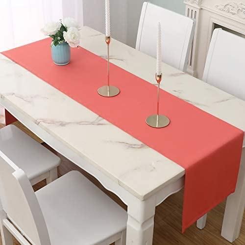DUALIFE Coral Table Runner 14x72 inch Solid Color Thick Polyester Decorative Cloth Handcrafted product image