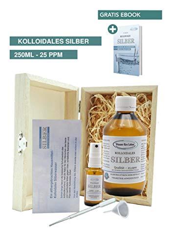 Liquid for Life® Kolloidales Silber 25ppm - 250ml Silberwasser Natürliches Antibiotikum inklusive 30ml Sprühflasche – Zubehör, gegen Warzen, Pilze, Keime, Neurodermitis in GESCHENKBOX