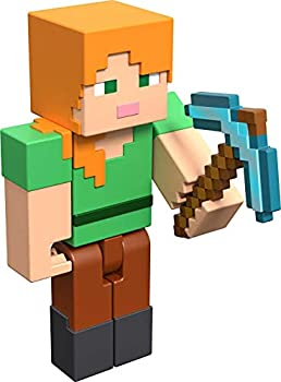 Minecraft Alex 3.25  scale Video Game Authentic Action Figure with Accessory and Craft-a-block