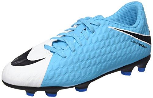 Nike Jr Hypervenom Phade III Fg, Scarpe da Calcio Unisex-Adulto, Blu (White/Black-Photo Blue-Chlorine Blue), 36 EU