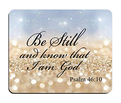 BWOOLL Rainbow Glitter Christian Bible Verses Mouse pad, Be Still and Know That I am God - Psalm 46:10 Design Mouse Pad, Non-Slip Rubber Base Mouse Pads for Laptop and Computer