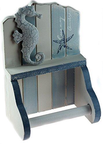 Portarrollos para papel higiénico náutico con diseño de caballito de mar, color azul y blanco