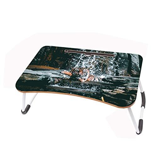 LYWUSUZE Laptop-Betttisch Tragbar Tiger Nimmt EIN Bad Auf Dem Bett Sofa Lese Tisch Tragbarer (60 x 40cm)