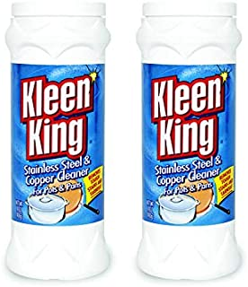 King Kleen Stainless Steel Cookware Cleaner and Copper Cleaner (14 oz, 2 Pack) Helps Remove Stains and Tarnish from Pots and Pans, Multi-Purpose Metal Cleaner, Powder Form