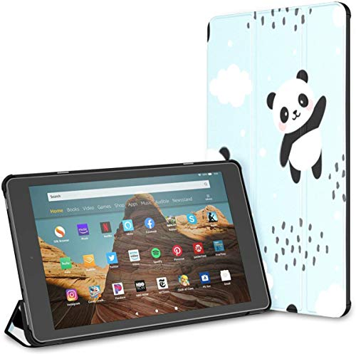 Case for All-New Amazon Fire Hd 10 Tablet (7th and 9th Generation,2017/2019 Release),Slim Folding Stand Cover with Auto Wake/Sleep for 10.1 Inch Tablet, Panda Seamless Pattern Background Happy Cute