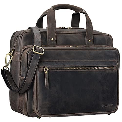 STILORD 'Walt' Borsa da lavoro uomo donna in pelle vintage Grande porta documenti da Insegnante Professore a tracolla per l'Ufficio A4 raccoglitori in cuoio, Colore:marrone scuro
