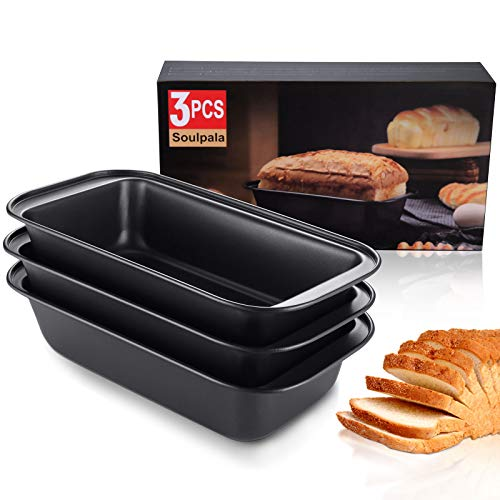 2lb Brotbackform Set of 3 Bread Baking Moulds, Carbon Steel Toast Panmit with Non-Stick Cake Small Loaf Tin Backform Loaf and Bread Baking Mould Set Coating Bread Laib Pan Rectangular Cake Pan