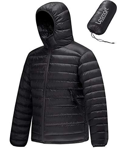 Leichte Daunenjacke Herren Kapuze Ultraleichte Winterjacke Steppjacke Puff Jacke Größe XL Schwarz