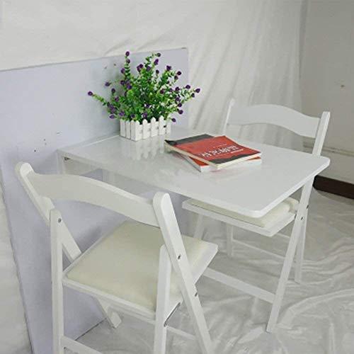 Plegable.ahorro de espacio.Saludable y environment Pared de madera Tabla montado en la pared de alas abatibles Mesa plegable Mesa de comedor Cocina Escritorio de la computadora (Color: Blanco), Color: