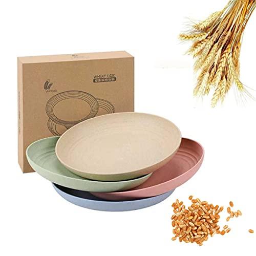 vajilla camping,4 PCS Platos de cena de paja de trigo de 7.8 pulgadas, aptos para microondas y lavavajillas,ligeros, sin BPA, para ensalada/pastel/postres-(4 colores)
