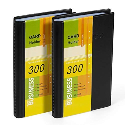 Hamosky Libro Del Organizador Del Titular De La Tarjeta De Visita: Cuero De Pu, Total De 2 Paquetes Para 600 Tarjetas De Visita