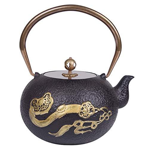 Theepot van gietijzer, theekoker teetsubine in Japanse stijl, 1,2 l | gietijzeren waterkoker voor het warm houden van thee | gelukkige ijzeren koker