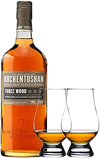 Auchentoshan Three Wood Single Malt Whisky 0,7 Liter  2 Glencairn Gläser