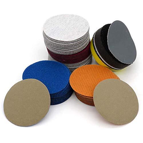 YJRIC papel de lija 100 piezas de papel de lija impermeable de 2 pulgadas con gancho y bucle de carburo de silicio de 60 a 10000 granos para lijado en seco o húmedo, 150