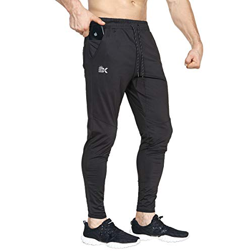 BROKIG Mens Lightweight Gym Jogger Pants,Men's Workout Sweatpants with Zip Pocket(Black,XX-Large)