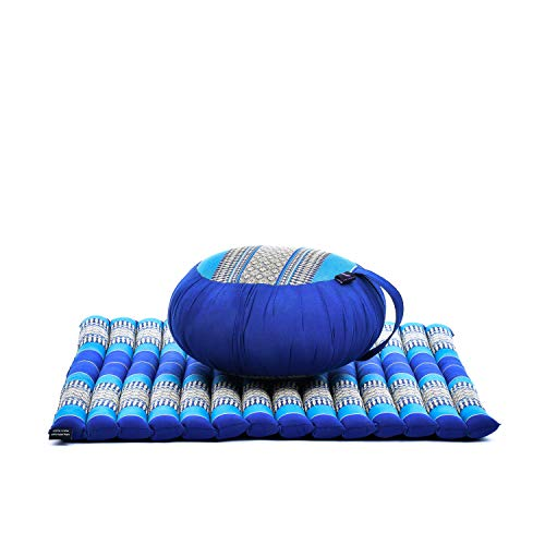Leewadee Meditation Cushion Set: Round Zafu Pillow and Large Square Zabuton Mat for Floor Seating Eco-Friendly Organic and Natural, Kapok, Blue