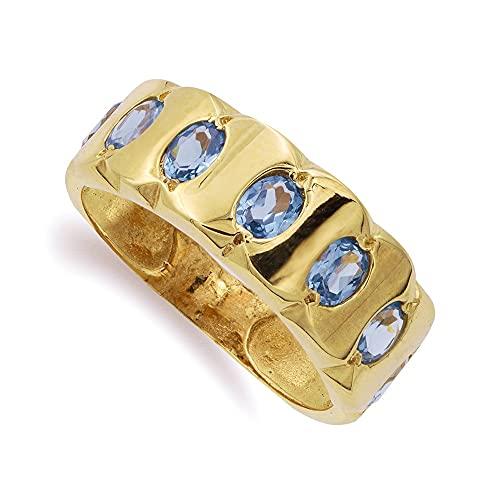 Sortija oro 18k mujer siete piedras aguamarina forma oval detalles ondulados
