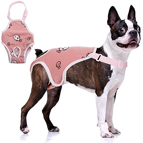 QBLEEV Dog Diaper Sanitary Pantie with Suspender,Pet Physiological Pants Adjustable Cozy Underwear for Female Girl Dogs,Breathable Cotton Briefs for Teddy Corgi French Bulldog Puppy