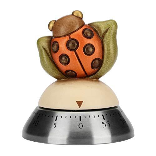 THUN® - Timer Manuale Contaminuti da Cucina Coccinella - Acciaio Inox e Ceramica - Linea Country