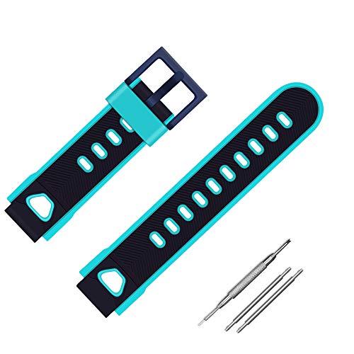 Coholl Kinder Smartwatch Telefon Ersatzbänder 16mm, kompatibel mit PTHTECHUS AGPTEK INIUPO MeritSoar Tech XPLORA Silikon Armband, Mädchen Jungen Student Geschenk,Blue with Green