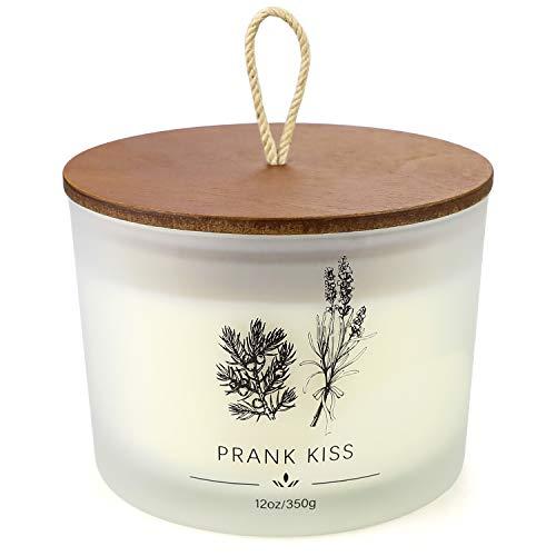 YMing Vela perfumada en tarro de regalo, 13 onzas hasta 75 horas de combustión, vela de soja con tarro esmerilado y tapa de madera para uso doméstico y regalo, lavanda francesa