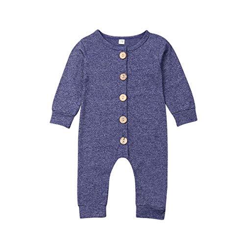 Baby Jongen Meisje Lange Mouw Romper Jumpsuit met Bottons Playsuit Outfit Kleding