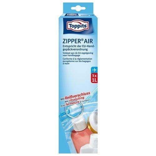 Toppits® ZIPPER AIR Beutel mit Reißverschluss (3 x 1 Liter / 20 x 15 cm) entspricht der EU-Handgepäckverordnung