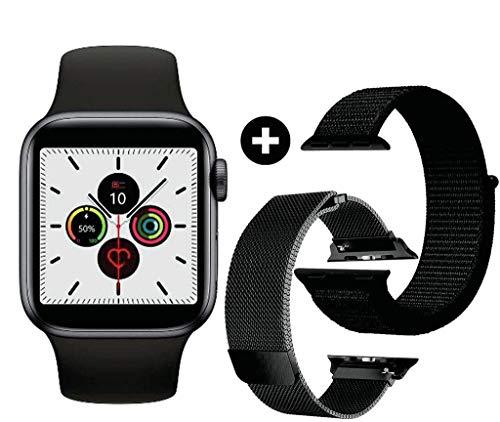 Smartwatch Iwo 12 44mm Preto Série 5 Pro com 3 pulseiras Atualizado 2020