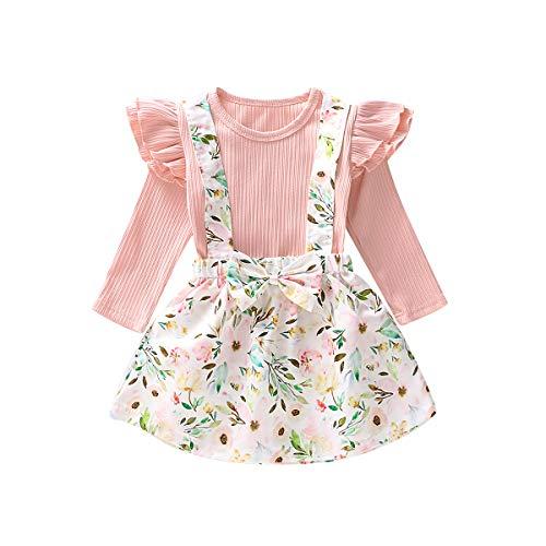 0-6T - Conjunto de Vestido de Manga Larga con Falda Floral para bebé - Rosa - 3-4 años