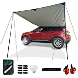 Multifunction Simplified Car Awning Camping Tarp SUV Awning RV Awning Camping Tent Mat Sun Shelter Tarp Poles Rooftop Tent Retractable Awning Sunshade