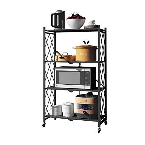 QAQA Multifunctional 3-Shelf 4-Shelf Folding Shelving Unit, Movable Goods Rack with Wheels, for Pantry Closet Kitchen Laundry (Color : Black, Size : Four floors)