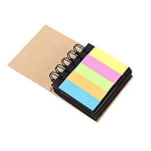 Notas adhesivas fluorescentes en color, blocs de notas, cuadernos de papel de notas con encuadernación en espiral, notas…