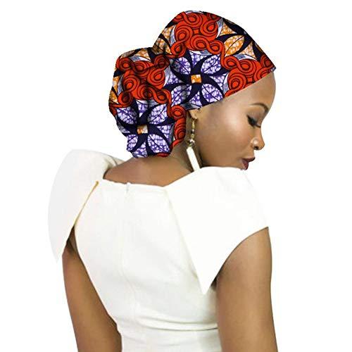 Deylaying Headwraps para Mujer Bufanda con Cabeza de Algodón Estampado Africano Diadema Turbante Extra Largo 70 Pulgadas