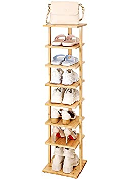 ORDORA Bamboo Shoe Rack for Entryway 8 Tier Narrow Shoes Rack for Closets Vertical Shoe Rack Organizer for Space Saving Stable & Durable Bamboo Shoe Organizer Tall & Free Standing Shoe Racks