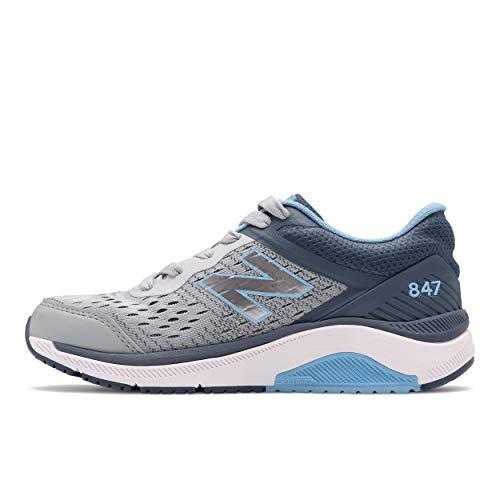 New Balance Women's 847 V4 Walking Shoe, Light Aluminum/Vintage Indigo/Team Carolina, 9.5 Narrow