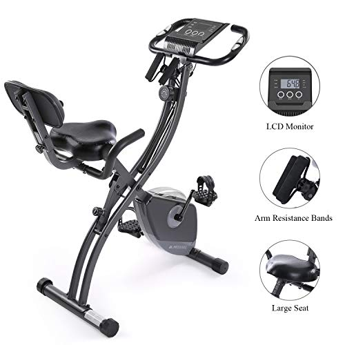 Exercise Bike Stationary Bike Foldable Magnetic UprightRecumbent Portable Fitness Cycle with Arm...
