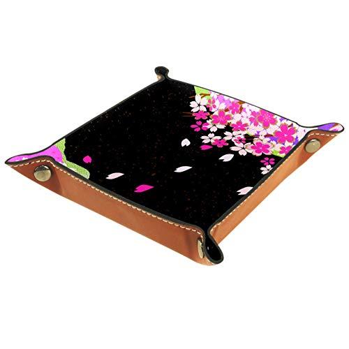 LynnsGraceland Tablett Leder,Kirschblüte im japanischen Stil,Leder Münzen Tablettschlüssel für Schmuck,Telefon,Uhren,Süßigkeiten,Catchall-Tablett für Männer & Frauen Großes Geschenk