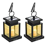 LVJING Solar Lantern,LED Lantern Lights Hanging Solar Lights Outdoor Decorative with Warm White Candle Flicker Auto Sensor On Off for Patio Landscape Path Yard (2 Pack)